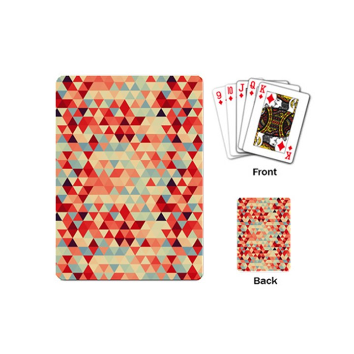 Modern Hipster Triangle Pattern Red Blue Beige Playing Cards (Mini)