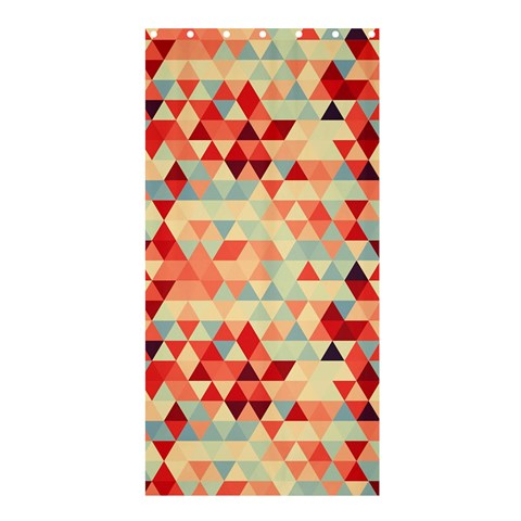 Modern Hipster Triangle Pattern Red Blue Beige Shower Curtain 36  x 72  (Stall)