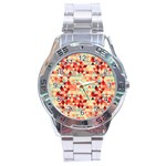 Modern Hipster Triangle Pattern Red Blue Beige Stainless Steel Analogue Watch Front