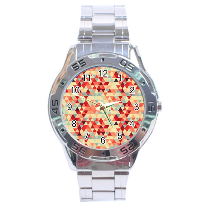 Modern Hipster Triangle Pattern Red Blue Beige Stainless Steel Analogue Watch