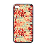 Modern Hipster Triangle Pattern Red Blue Beige Apple iPhone 4 Case (Black) Front