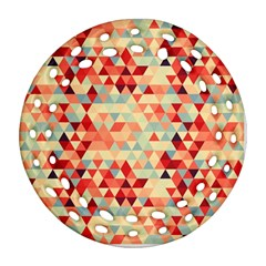 Modern Hipster Triangle Pattern Red Blue Beige Round Filigree Ornament (2Side)