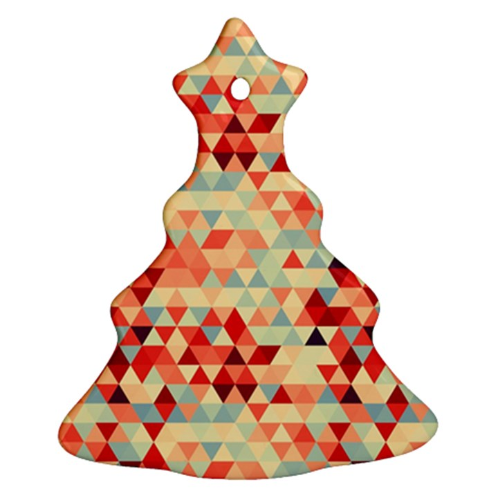 Modern Hipster Triangle Pattern Red Blue Beige Christmas Tree Ornament (2 Sides)