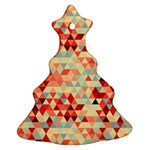 Modern Hipster Triangle Pattern Red Blue Beige Christmas Tree Ornament (2 Sides) Back