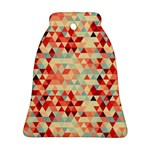 Modern Hipster Triangle Pattern Red Blue Beige Bell Ornament (2 Sides) Back