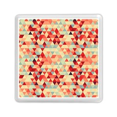 Modern Hipster Triangle Pattern Red Blue Beige Memory Card Reader (square)