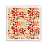 Modern Hipster Triangle Pattern Red Blue Beige Memory Card Reader (Square)  Front