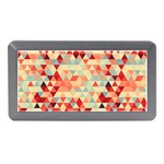 Modern Hipster Triangle Pattern Red Blue Beige Memory Card Reader (Mini) Front