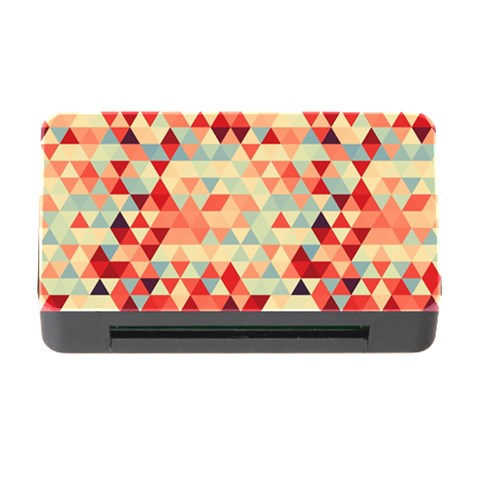 Modern Hipster Triangle Pattern Red Blue Beige Memory Card Reader with CF