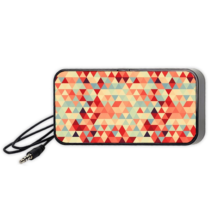 Modern Hipster Triangle Pattern Red Blue Beige Portable Speaker (Black)