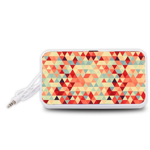 Modern Hipster Triangle Pattern Red Blue Beige Portable Speaker (White)