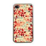 Modern Hipster Triangle Pattern Red Blue Beige Apple iPhone 4 Case (Clear) Front