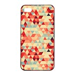 Modern Hipster Triangle Pattern Red Blue Beige Apple iPhone 4/4s Seamless Case (Black) Front
