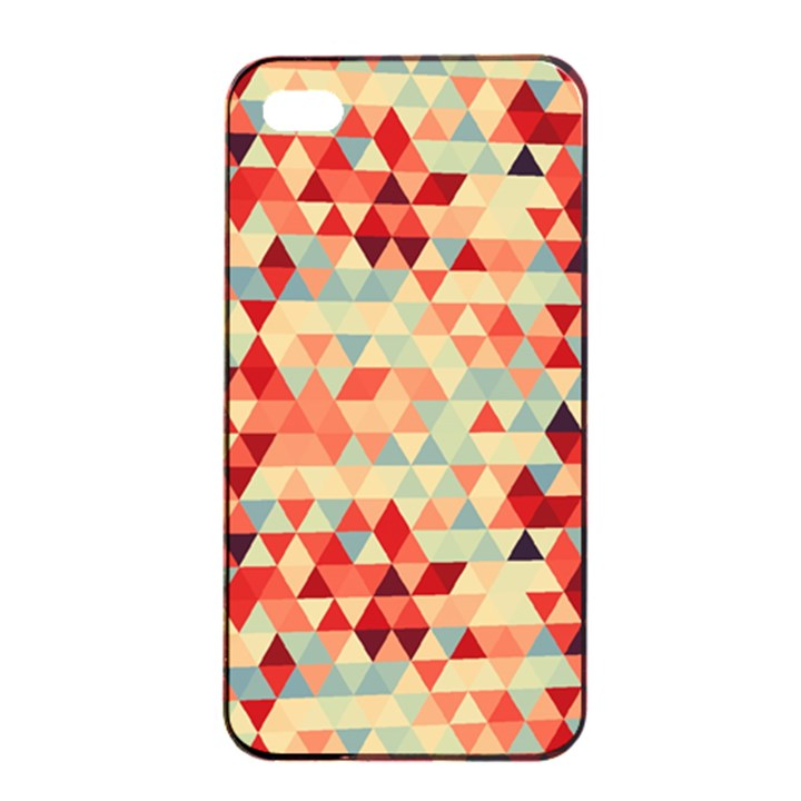 Modern Hipster Triangle Pattern Red Blue Beige Apple iPhone 4/4s Seamless Case (Black)