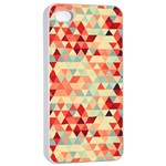 Modern Hipster Triangle Pattern Red Blue Beige Apple iPhone 4/4s Seamless Case (White) Front