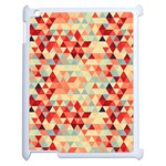 Modern Hipster Triangle Pattern Red Blue Beige Apple iPad 2 Case (White) Front