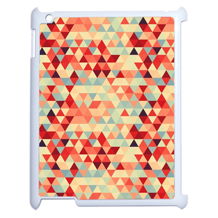 Modern Hipster Triangle Pattern Red Blue Beige Apple iPad 2 Case (White)