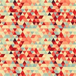 Modern Hipster Triangle Pattern Red Blue Beige Happy Birthday 3D Greeting Card (8x4) Inside