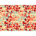 Modern Hipster Triangle Pattern Red Blue Beige BOY 3D Greeting Card (7x5) Back