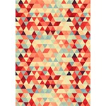 Modern Hipster Triangle Pattern Red Blue Beige Heart 3D Greeting Card (7x5) Inside
