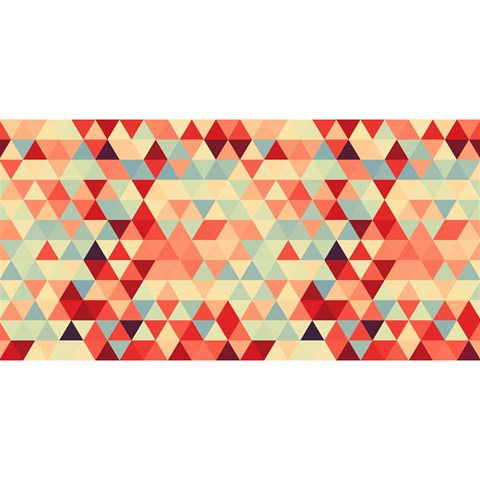 Modern Hipster Triangle Pattern Red Blue Beige YOU ARE INVITED 3D Greeting Card (8x4)