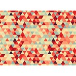 Modern Hipster Triangle Pattern Red Blue Beige Heart Bottom 3D Greeting Card (7x5) Front