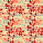 Modern Hipster Triangle Pattern Red Blue Beige Merry Xmas 3D Greeting Card (8x4) Inside