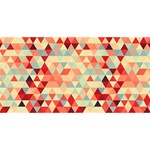 Modern Hipster Triangle Pattern Red Blue Beige Happy New Year 3D Greeting Card (8x4) Front