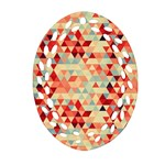 Modern Hipster Triangle Pattern Red Blue Beige Ornament (Oval Filigree)  Front