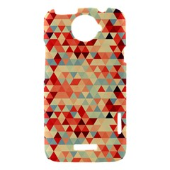 Modern Hipster Triangle Pattern Red Blue Beige HTC One X Hardshell Case