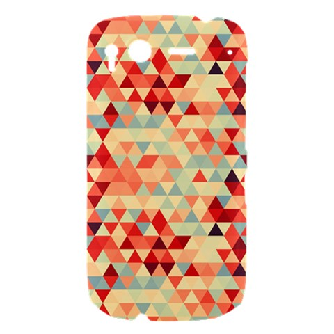 Modern Hipster Triangle Pattern Red Blue Beige HTC Desire S Hardshell Case