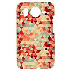 Modern Hipster Triangle Pattern Red Blue Beige HTC Desire HD Hardshell Case