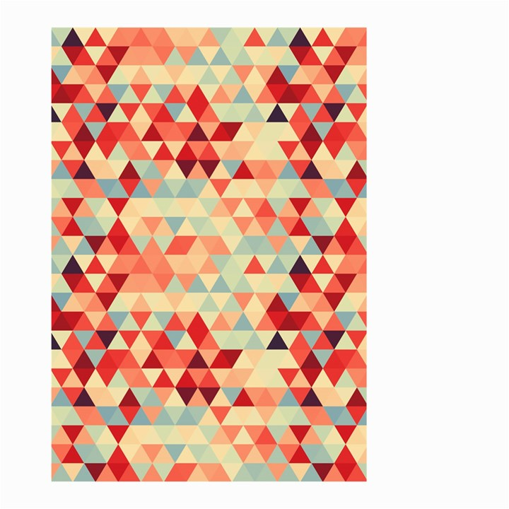 Modern Hipster Triangle Pattern Red Blue Beige Small Garden Flag (Two Sides)