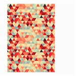 Modern Hipster Triangle Pattern Red Blue Beige Small Garden Flag (Two Sides) Back