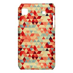 Modern Hipster Triangle Pattern Red Blue Beige Samsung Galaxy S i9008 Hardshell Case
