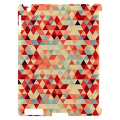 Modern Hipster Triangle Pattern Red Blue Beige Apple iPad 2 Hardshell Case (Compatible with Smart Cover)