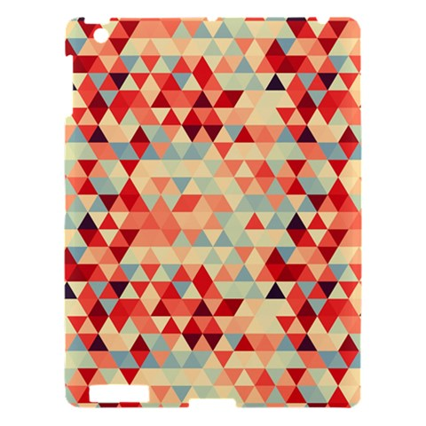Modern Hipster Triangle Pattern Red Blue Beige Apple iPad 3/4 Hardshell Case