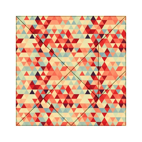Modern Hipster Triangle Pattern Red Blue Beige Acrylic Tangram Puzzle (6  x 6 )