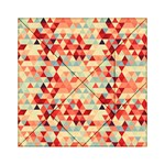 Modern Hipster Triangle Pattern Red Blue Beige Acrylic Tangram Puzzle (6  x 6 ) Front