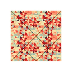 Modern Hipster Triangle Pattern Red Blue Beige Acrylic Tangram Puzzle (4  x 4 )