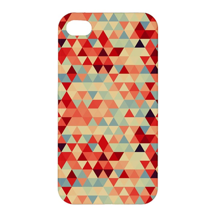 Modern Hipster Triangle Pattern Red Blue Beige Apple iPhone 4/4S Premium Hardshell Case