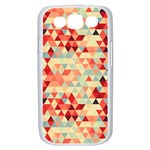 Modern Hipster Triangle Pattern Red Blue Beige Samsung Galaxy S III Case (White) Front