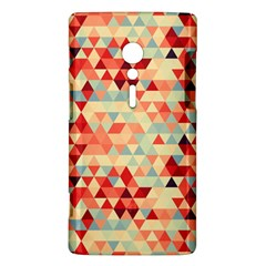 Modern Hipster Triangle Pattern Red Blue Beige Sony Xperia ion