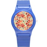 Modern Hipster Triangle Pattern Red Blue Beige Round Plastic Sport Watch (S) Front