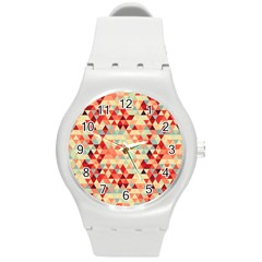 Modern Hipster Triangle Pattern Red Blue Beige Round Plastic Sport Watch (M)