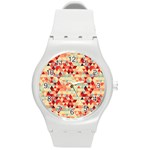 Modern Hipster Triangle Pattern Red Blue Beige Round Plastic Sport Watch (M) Front