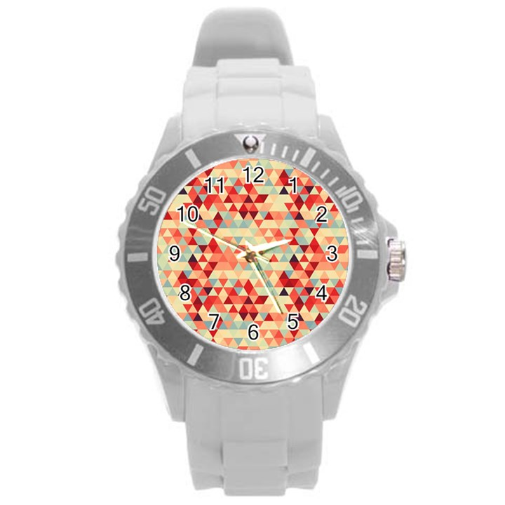 Modern Hipster Triangle Pattern Red Blue Beige Round Plastic Sport Watch (L)