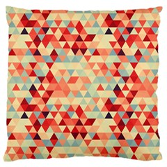 Modern Hipster Triangle Pattern Red Blue Beige Large Cushion Case (one Side)