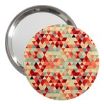 Modern Hipster Triangle Pattern Red Blue Beige 3  Handbag Mirrors Front