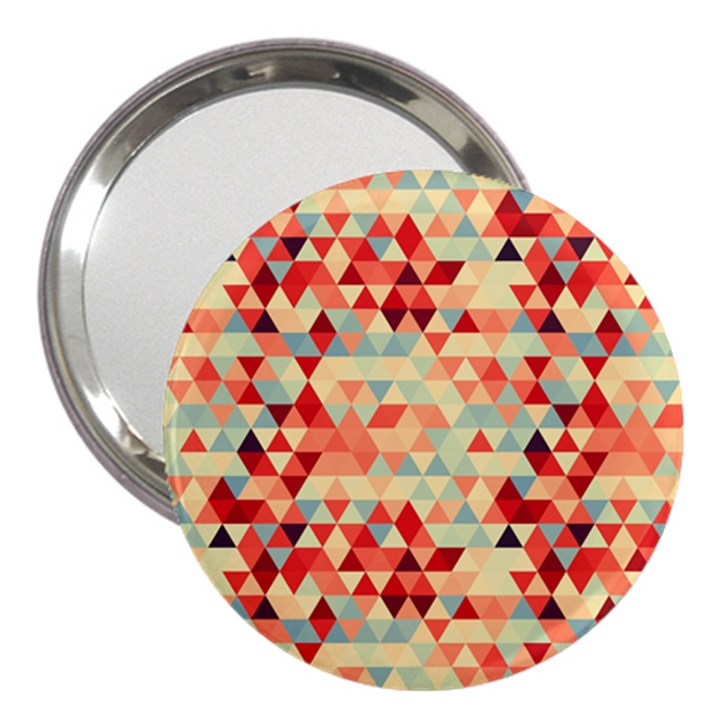 Modern Hipster Triangle Pattern Red Blue Beige 3  Handbag Mirrors